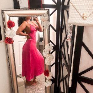 Hot pink satin silk midi dress